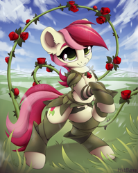 Size: 1917x2412 | Tagged: safe, artist:hitbass, roseluck, earth pony, pony, clothes, ear fluff, female, flower, mare, rose, solo