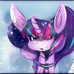 Size: 1024x1024 | Tagged: safe, artist:thisponydoesnotexist, oc, oc only, pony, unicorn, big ears, neural network, neural network abomination, not twilight sparkle, smiling, solo, weird