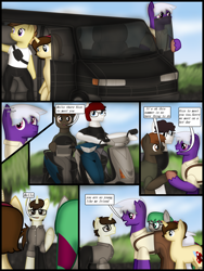 Size: 1750x2333 | Tagged: safe, artist:99999999000, oc, oc:cwe, oc:firearm king, oc:li anna, oc:mar baolin, oc:zhang cathy, earth pony, pegasus, pony, unicorn, bag, car, comic, female, helmet, male, motorcycle, scooter