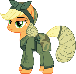 Size: 3083x3000 | Tagged: safe, artist:cloudyglow, applejack, earth pony, pony, the cutie re-mark, .ai available, alternate timeline, applejack is not amused, clothes, crystal war timeline, freckles, high res, looking at you, simple background, solo, transparent background, unamused, vector