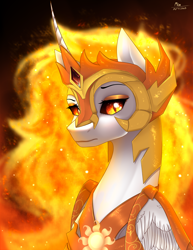 Size: 2120x2750 | Tagged: safe, artist:mix2546, daybreaker, alicorn, pony, bust, female, fire, high res, mare, portrait, solo