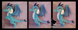 Size: 1566x600   Tagged: safe, artist:wollyshop, princess ember, dragon, commission, dragon lord ember, embroidery, horns, irl, photo, plushie, posable, solo