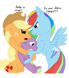 Size: 838x954 | Tagged: safe, applejack, rainbow dash, spike, earth pony, pegasus, pony, angry, appledash, applespike, applespikedash, bisexual, female, fight, interspecies, lesbian, male, polyamory, rainbowspike, remake, shipping, spike gets all the mares, straight