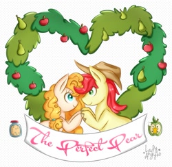 Size: 1059x1033 | Tagged: safe, artist:ladyangyko, bright mac, pear butter, the perfect pear, apple, brightbutter, cutie mark, digital art, female, food, looking at each other, male, pear, shipping, simple background, smiling, straight