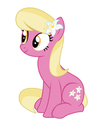 Size: 1452x1796 | Tagged: safe, artist:three uncle, lily, lily valley, earth pony, pony, growing up is hard to do, background pony, cute, female, flower, flower in hair, lily (flower), mare, simple background, sitting, smiling, transparent background