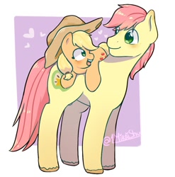 Size: 900x912 | Tagged: safe, artist:1miraishu, applejack, bright mac, applejack's hat, cowboy hat, cute, digital art, duo, father and child, father and daughter, father's day, female, hat, jackabetes, male, smiling, younger