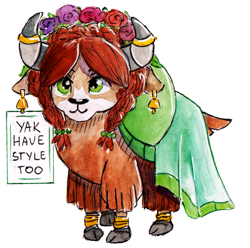 Size: 1024x1014 | Tagged: safe, artist:lailyren, artist:moonlight-ki, yona, yak, bell, bracelet, clothes, cloven hooves, cute, dress, ear piercing, earring, fashion, fashion style, female, floral head wreath, flower, horn, horn jewelry, horn ring, jewelry, piercing, quadrupedal, ring, sign, simple background, solo, style, text, toy, traditional art, transparent background, watercolor painting, yonadorable