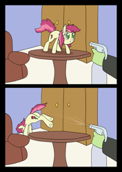 Size: 1000x1414 | Tagged: safe, artist:happy harvey, roseluck, oc, oc:anon, earth pony, human, pony, arched back, behaving like a cat, both cutie marks, chair, drawn on phone, female, filly, jumping, mare, off screen character, pony pet, rosepet, spray bottle, standing, table