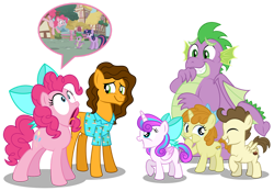 Size: 1280x892 | Tagged: safe, artist:aleximusprime, screencap, cheese sandwich, pinkie pie, pound cake, princess flurry heart, pumpkin cake, spike, twilight sparkle, dragon, unicorn, flurry heart's story, friendship is magic, adult, adult spike, bow, cheesy as pie, chubby, chubby spike, clothes, colt pound cake, fat spike, filly, filly flurry heart, filly pumpkin cake, giggling, hair bow, hawaiian shirt, inhaling, laughing, older, older flurry heart, older pound cake, older pumpkin cake, older spike, plump, reenactment, shirt, silly, simple background, speech bubble, sucking in, thin, transparent background, unicorn twilight, winged spike