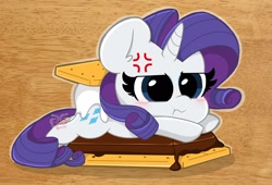 Size: 2048x1393 | Tagged: safe, artist:kittyrosie, rarity, pony, unicorn, :t, angry, blushing, chibi, chocolate, crackers, cross-popping veins, cute, female, food, graham cracker, madorable, mare, marshmallow, ponies in food, prone, raribetes, rarity is a marshmallow, s'mores, solo
