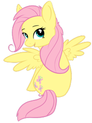 Size: 516x689 | Tagged: safe, artist:koshi-doshi, fluttershy, pegasus, pony, cute, female, looking back, mare, open mouth, rear view, shyabetes, simple background, sitting, solo, spread wings, transparent background, wings