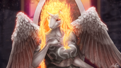 Size: 1280x720 | Tagged: safe, artist:h_03, daybreaker, alicorn, anthro, abs, breasts, busty daybreaker, clothes, cropped, ethereal crown, female, mane of fire, mare, signature, sitting, spread wings, stained glass window, throne, throne room, window, wings