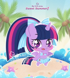 Size: 900x1011 | Tagged: safe, artist:catseyeart, twilight sparkle, alicorn, semi-anthro, beach, bikini, bipedal, blushing, bow, chibi, clothes, cute, cutie mark, cutie mark on clothes, female, hair bow, looking at you, mare, midriff, ocean, open mouth, palm tree, ponytail, sarong, seashell, shell, solo, starry eyes, swimsuit, tree, twiabetes, twilight sparkle (alicorn), wingding eyes