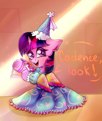 Size: 2620x3089 | Tagged: safe, artist:pozya1007, twilight sparkle, unicorn, clothes, cute, dress, dressup, fake wings, female, filly, filly twilight sparkle, frilly dress, froufrou glittery lacy outfit, hennin, implied princess cadance, offscreen character, princess outfit, solo, speech bubble, toy, twiabetes, twilight wants to be a princess, unicorn twilight, waving, weapons-grade cute, younger