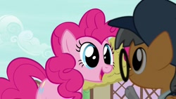 Size: 1162x657 | Tagged: safe, screencap, pinkie pie, earth pony, pony, daring done?, background pony, colt, cute, diapinkes, female, glasses, male, mare, open mouth, ponyville, printing press (character), smiling, unnamed character, unnamed pony