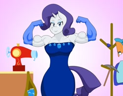 Size: 1280x996 | Tagged: safe, artist:matchstickman, rarity, anthro, unicorn, biceps, clothes, dress, evening gloves, female, flexing, gem, gloves, lidded eyes, long gloves, looking at you, mare, muscles, muscular female, pose, ripped rarity, sewing machine, simple background, smiling, solo