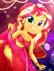 Size: 1800x2400 | Tagged: safe, artist:artmlpk, sunset shimmer, genie, equestria girls, adorable face, adorasexy, adorkable, bare chest, bare shoulders, beautiful, belly dancer, belly dancer outfit, bracelet, clothes, crown, curtains, cute, dancing, design, digital art, dork, dress, egyptian, eyelashes, geniefied, goddess, gold, grin, hair, harem outfit, jewelry, legs, looking at you, midriff, outfit, palace, pillow, pose, regalia, sarong, see-through, sexy, shimmerbetes, skirt, skirt lift, sleeveless, smiley face, smiling, smiling at you, solo, strapless, stupid sexy sunset shimmer, watermark