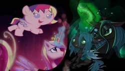 Size: 854x480 | Tagged: safe, princess cadance, queen chrysalis, alicorn, pony, baby, baby pony, cadabetes, chrysabetes, cute, cutealis, cutedance, female, filly, filly version, magic, this day aria, wallpaper