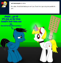 Size: 4158x4315 | Tagged: safe, artist:agkandphotomaker2000, oc, oc:lucia nightblood, oc:pony video maker, alicorn, pegasus, pony, vampire, vampony, tumblr:pony video maker's blog, ask, backing away, dialogue, greenscreen, levitation, magic, paddle, show accurate, sweat, telekinesis, tumblr