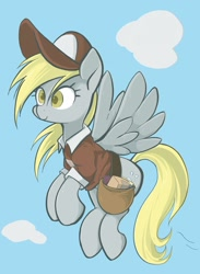 Size: 1498x2048 | Tagged: safe, artist:noupu, derpy hooves, pegasus, pony, bag, cloud, female, flying, mailmare, mare, saddle bag, sky, solo, spread wings, wings