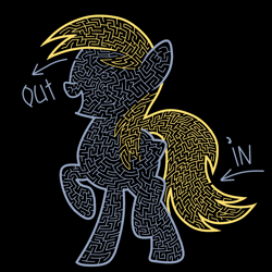 Size: 1200x1200 | Tagged: safe, artist:akellf, derpy hooves, arrow, black background, cute, derpabetes, maze, simple background, solo, text