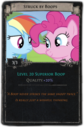 Size: 440x668   Tagged: safe, pinkie pie, rainbow dash, boop, cute, divination card, path of exile, video game