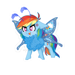 Size: 1280x1280 | Tagged: safe, artist:madkadd, rainbow dash, moth, mothpony, original species, pony, angry, chest fluff, cross-popping veins, deviantart watermark, feathered fetlocks, female, obtrusive watermark, open mouth, simple background, solo, species swap, transparent background, watermark, wings