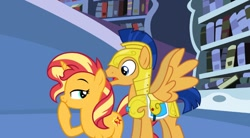 Size: 670x370 | Tagged: safe, artist:jadethepegasus, flash sentry, sunset shimmer, female, flashimmer, male, shipping, straight