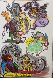 Size: 2073x3055 | Tagged: safe, artist:alom-b93, discord, fluttershy, draconequus, pegasus, pony, bed, crown, discoshy, female, holding a pony, jewelry, looking at each other, male, mare, raised hoof, regalia, shipping, straight, traditional art