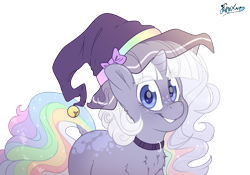 Size: 5000x3500   Tagged: safe, artist:fluffyxai, oc, oc only, oc:dreamveil, pony, unicorn, clothes, collar, cute, female, freckles, hat, looking at you, mare, multicolored hair, palindrome get, pretty, rainbow hair, simple background, smiling, solo, transparent background, wavy mane, witch hat