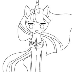 Size: 768x768   Tagged: safe, artist:star_swirly, twilight sparkle, alicorn, pony, the last problem, :d, female, lineart, mare, monochrome, open mouth, peytral, princess twilight 2.0, simple background, smiling, solo, twilight sparkle (alicorn), white background