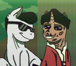 Size: 1600x1400 | Tagged: safe, artist:theedgyduck, earth pony, ghoul, pony, undead, unicorn, clothes, coat, crossover, deacon, duo, fallout, fallout 4, hat, john hancock, male, ponified, sunglasses