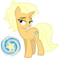 Size: 1105x1080 | Tagged: safe, artist:徐詩珮, sungold, pony, unicorn, base used, cutie mark, female, headcanon, lidded eyes, mare, simple background, solo, transparent background