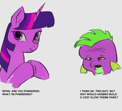 Size: 1129x1024 | Tagged: safe, artist:nire, edit, cozy glow, spike, twilight sparkle, dialogue, dick flattening, hasbro, meme, parody, pinkie and the brain, ponified meme, text, theme park, wojak