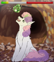 Size: 3500x4000   Tagged: safe, artist:donotea, sweetie belle, human, pony, unicorn, drool, fangs, game over, giant pony, giant unicorn, health bars, imminent vore, macro, mega sweetie belle, open mouth, ponies eating humans, press x to not die, quick time event, simple background, sweetiepred, sword, this will end in vore, video game, vore, weapon