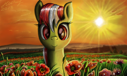 Size: 854x512 | Tagged: safe, artist:dreamyskies, oc, oc only, earth pony, pony, 3ds, beautiful, complex background, detailed, earth pony oc, flower, fourth wall, looking at you, nature, poppy (flower), scenery, scenery porn, smiley face, solo, sunset
