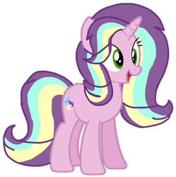 Size: 1050x1056 | Tagged: safe, artist:徐詩珮, oc, oc:sunbeam glimmer, bubbleverse, magical lesbian spawn, offspring, parent:starlight glimmer, parent:sungold, parents:sunglimmer, simple background, transparent background