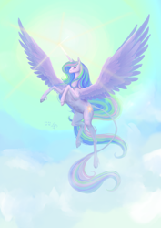 Size: 2480x3508 | Tagged: safe, artist:dalagar, princess celestia, alicorn, pony, cloud, cloven hooves, female, flying, high res, hoers, leonine tail, majestic, mare, sky, solo, unshorn fetlocks