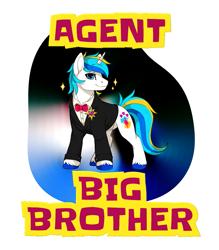 Size: 1121x1280   Tagged: safe, artist:mr-tiaa, artist:starponys87, oc, oc:white night, oc:white night shiningheart, unicorn, bbbff, big brother, clothes, diplomat, handsome, horn, james bond, parody, secret agent, spy, suit, tuxedo, unicorn oc