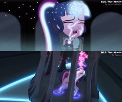 Size: 3724x3120   Tagged: safe, artist:aryatheeditor, screencap, sci-twi, twilight sparkle, alicorn, equestria girls, my little pony: the movie, comparison, dark, geode of telekinesis, glow, glowing horn, horn, magic, magical geodes, movie, movie accurate, movie reference, outfit, photo, powerful sparkle, solo, tied up, twilight sparkle (alicorn), twolight