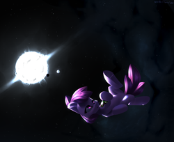 Size: 2700x2200 | Tagged: safe, artist:shido-tara, berry punch, berryshine, earth pony, pony, :o, alcohol, bottle, dark background, drunk, earth, featured image, female, flying, high res, hoof hold, lidded eyes, lost, mare, moon, open mouth, planet, solo, space, stars, sun, wat, wine