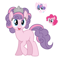 Size: 1280x1252 | Tagged: safe, artist:tenderrain46, pinkie pie, princess flurry heart, oc, earth pony, pony, crown, female, jewelry, magical lesbian spawn, mare, offspring, parent:pinkie pie, parent:princess flurry heart, parents:flurrypie, regalia, simple background, transparent background
