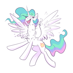 Size: 2000x2000 | Tagged: safe, artist:ravensunart, princess celestia, alicorn, pony, cheek fluff, chest fluff, derp, excited, exuberant, female, flapping, flying, leg fluff, long neck, majestic as fuck, mare, missing accessory, necc, neck fluff, open mouth, princess necklestia, shitposting, sillestia, silly, silly pony, smiling, solo, spread wings, wat, wide eyes, wing fluff, wings