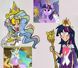 Size: 2453x2139 | Tagged: safe, artist:citi, screencap, discord, twilight sparkle, alicorn, human, dungeons and discords, princess twilight sparkle (episode), big crown thingy, crown, discord's celestia face, element of magic, fangs, humanized, jewelry, pointing, regalia, scene interpretation, scepter, screen, screencap reference, twilight is not amused, twilight scepter, twilight sparkle (alicorn), unamused