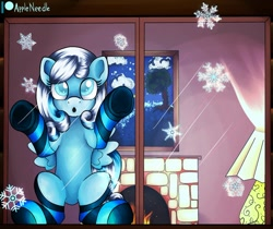 Size: 1280x1075 | Tagged: safe, artist:appleneedle, oc, oc only, oc:snowdrop, pegasus, pony, clothes, cottage, cute, female, filly, fireplace, lamp, looking up, patreon, patreon reward, snow, snowflake, socks, solo, striped socks, window