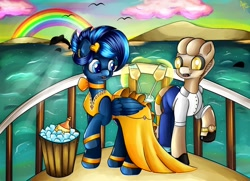 Size: 1280x926 | Tagged: safe, artist:appleneedle, oc, oc only, oc:apophis, oc:layla unison, dolphin, earth pony, original species, pegasus, pony, snake, snake pony, champagne, date, egyptian pony, holiday, looking at each other, ocean, rainbow, romantic, sunset, yacht
