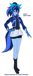 Size: 1280x2905 | Tagged: safe, artist:pyrus-leonidas, oc, oc only, oc:lexi starling, ambiguous species, anthro, human, belt, blue skin, boots, bow, bracelet, clothes, compression shorts, denim skirt, eared humanizationboots, female, hair bow, hand on hip, happy, humanized, jacket, jewelry, muticolored mane, muticolored tail, pony coloring, shirt, shoes, shorts, simple background, skirt, smiling, solo, tailed humanization, transparent background, vector, white background