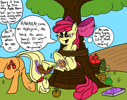 Size: 2929x2312 | Tagged: safe, artist:darkknighthoof, artist:sparklysapphire, apple bloom, applejack, earth pony, pony, apple, basket, bondage, book, brush, colored, dishonorapple, feather, female, fetish, filly, food, hoof fetish, hooves, mare, pineapple, potion, punishment, rope, sibling tickling, siblings, sisters, tickle fetish, tickle torture, tickling, tied up, tree, underhoof