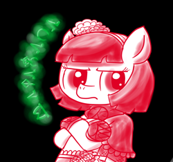 Size: 640x600 | Tagged: safe, artist:ficficponyfic, part of a set, oc, oc:mulberry telltale, cyoa:madness in mournthread, bag, boots, crossed legs, cyoa, ears up, flower, frills, frown, glare, glowing runes, handkerchief, headband, runes, serious, shawl, shoes, sideways glance, simple background, story included