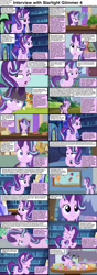 Size: 1282x3661 | Tagged: safe, artist:agrol, edit, phyllis, starlight glimmer, sunburst, unicorn, comic:celestia's servant interview, headmare of the school, book, caption, coffee mug, cs captions, cute, descriptive noise, desk, female, glare, glarelight glimmer, glimmerbetes, kite, kites, levitation, looking at you, magic, male, mare, mug, onomatopoeia, paper, plant, smiling, squee, stallion, telekinesis, that pony sure does love kites, watering can